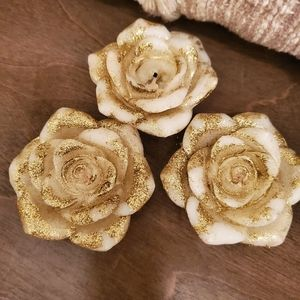 3 Cream and Gold Floral Floating Candles